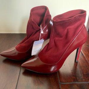 ZARA TRF Burgundy Sock Heels